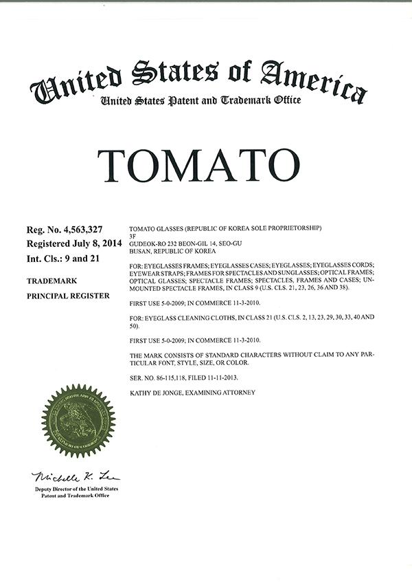 Certificate of Trademark Registration(USA)