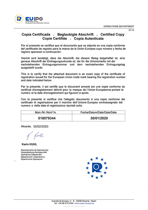 EUIPO CERTIFICATE OF REGISTRATION
